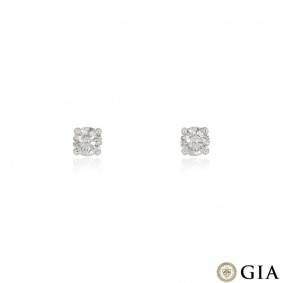 White Gold Round Brilliant Cut Diamond Earrings 1.18ct TDW
